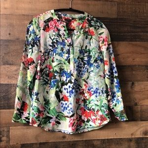 Talbots Silky Vibrant Floral Popover Blouse